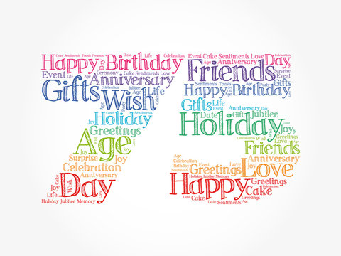 Happy 75th birthday word cloud collage concept
