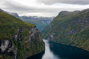 Cloud and rain at Geiranger fjord, Norway