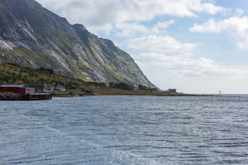Natural mountain landscape with seaview at summer in Lofoten, Norway.