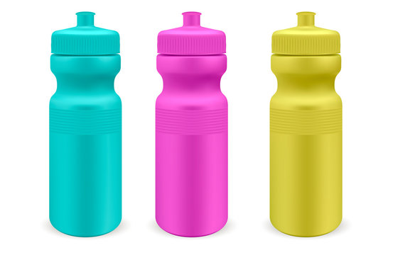 Matt plastic water sports bottles set. Ultra color Photo realistic packaging mockup template. Front view. Vector 3d illustration.