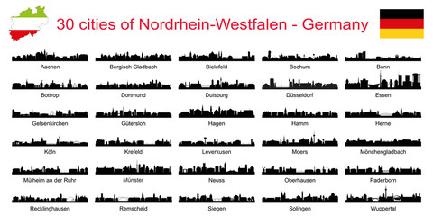 30 cities of Nordrhein-Westfalen