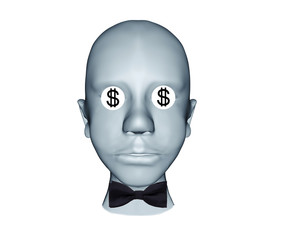 3d illustration of human head with s dollars eyes and bow black tie