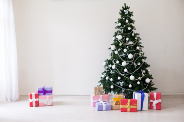 Christmas tree with presents new year holidays winter toys
