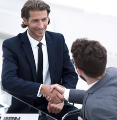 closeup. business handshake in an office.