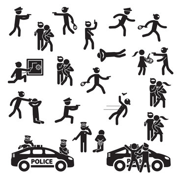 Robbery and crime icon set. Vector.