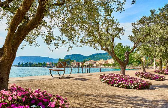 Lake Garda with nice walkways and beaches at Bardolino in Italy