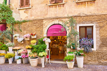 Colorful flowerpots in front of an old house in Bardolino at Lake Garda in Italy