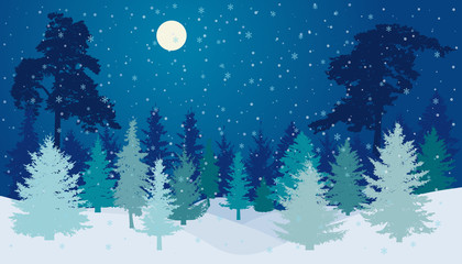 Winter forest with snowfall in night with full moon silhouette. Vector