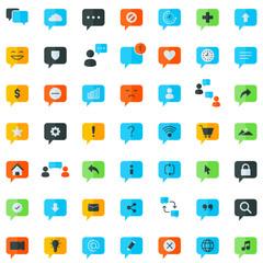 Chat Icon Set. Speech Bubble Sign. Conversation, Communications Symbol.