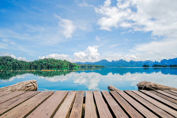 Wooden platform floor with beautiful lake