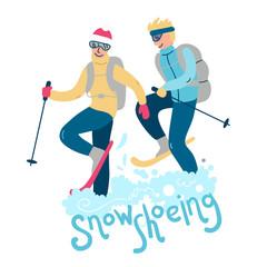 Beautiful flat vector illustration winter sport activites. Skiin