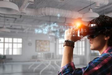 Experiencing virtual technology world. Mixed media