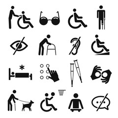 Disabled people care and disability icon set