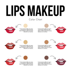 Lips makeup, color chart for your skin tone. Lips on the skin. Human's skin tone (asian, caucasian, African, Indian ). Vector illustration for makeup artist, biology, scientific, skincare, and medical