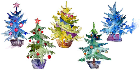 Isolated Chrismas tree in pot. Background illustration set. Watercolour drawing aquarelle isolated.