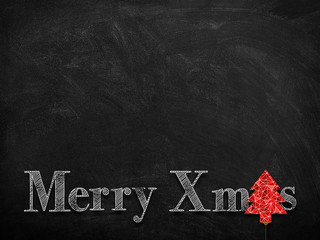 3d illustration rendering of chalk Merry Christmas wishes on blackboard with red Christmas pine tree