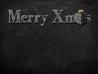 3d illustration rendering of chalk Merry Christmas wishes on blackboard with black gift box