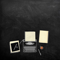 Chalk sketch illustration drawing of typewriter and blank old paper sheet frames