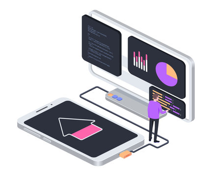Software update concept. Smartphone connected to computer. Isometric composition. Illustration for websites and print. Vector illustration