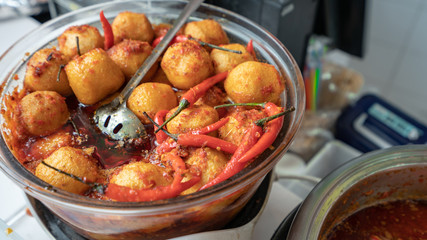 Healthy And Tasty Food With Fried Tofu And Hot Chilli Pepper