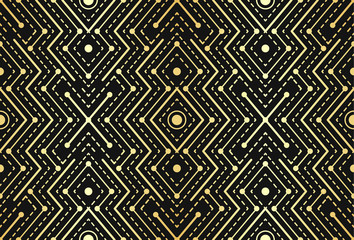 Gradient gold black linear seamless sacred geometry pattern. Golden sacral geometric occult cosmic line art signs for fabric prints, surface textures, cloth design, wrapping. EPS10 vector backdrop.