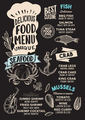 Seafood food menu template for restaurant with chefs hat lettering.
