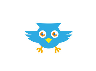 Blue owl open eyes and fly for logo Vector design