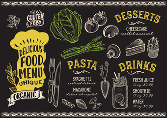 Vegetarian food menu template for restaurant with chefs hat lettering.