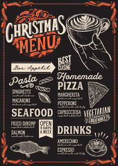 Christmas menu for restaurant and cafe on a blackboard.