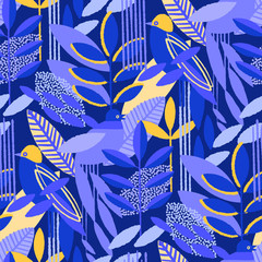 Abstract seamless pattern of minimalistic leaves in vibrant colors