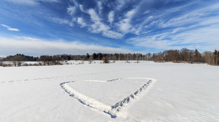 Winter Landscape with a Love Heart in the snow