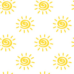Vector seamless pattern with sun isolated on white backdrop. Sumer background. Creative colorful wallpaper for yoga club. For textile and fabric, cover, print on clothes. Ether sign.