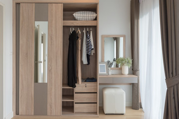 modern closet with clothes hanging on rail