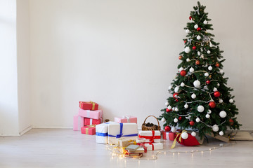 Christmas background Christmas tree Garland lights new year gifts winter postcard