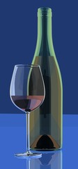 bottle and glass of red wine, 3D rendering