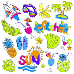 Hawaiian patch set. Fashionable pins 80s-90s style. Colorful drawings of fruits, drinks, beach wear, hand drawn lettering inscriptions Sun and Aloha. EPS 10 vector illustration.