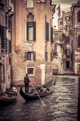 Fototapete - Gondola sailing in Venice, Italy