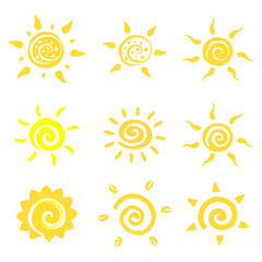 Vector logo set of sun. Design element for children store, banner, web, kid poster, decoration. EPS10. Ether sign.