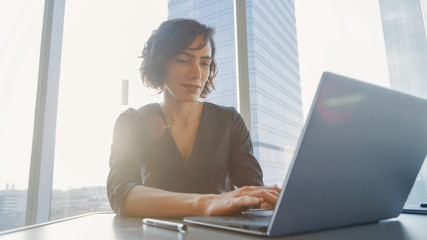 Confident Businesswoman Working on a Laptop in Her Modern Office. Stylish Beautiful Woman Doing Important Job. In the Window Big City Business District View.  Wall mural