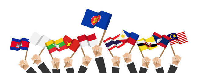 ASEAN and membership flags . Businessman hand hold and raise up flagpole . White isolated background . Flat design . Vector