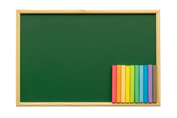 Empty green chalkboard with chalk isolated on white background. Green chalkboard background and texture with wood frame. Education and back to school, Menu of Coffee shop or Restaurant concept idea.