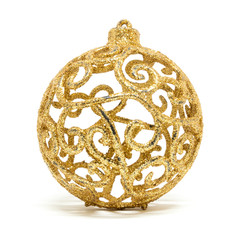 Single glittering golden Christmas tree decoration ball isolated on a white background