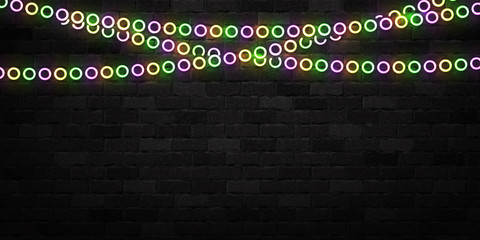 Vector realistic isolated neon sign of Mardi Gras beads logo for decoration and covering on the wall background.