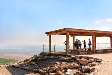 an observation deck with a tour group