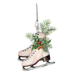 Watercolor vintage skates with winter floral decor. Hand painted white skates with fir branches, berries, holly, poinsettia and fir cone isolated on white background. Christmas symbol for design.