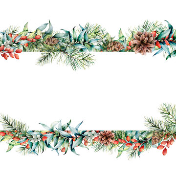 Watercolor Christmas floral banner. Hand painted floral garland with berries and fir branch, eucalyptus leaves, pine cone isolated on white background. Holiday clip art for design, print