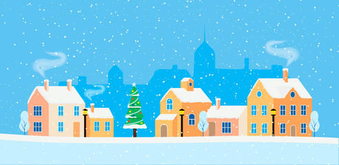 Christmas card with winter cityscape. Snowy street in small city with buildings and houses, trees. Modern concept vector illustration with urban winter landscape.