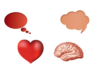 Illustration with isolated 3d heart and 3d brain with nubes