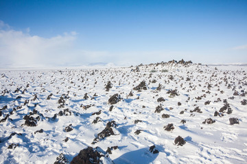 Laufskalavarda view during winter which is a lava ridge, surrounded by stone cairns, between the Holmsa and Skalma Rivers