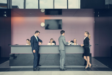 Business people at front des